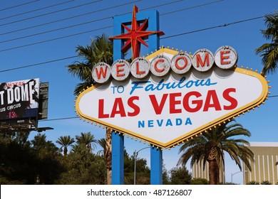 LAS VEGAS, NEVADA - 29 Oct.2015 Welcome to Never Sleep city Las Vegas sign