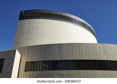 LAS VEGAS, NEVADA - 4TH MARCH, 2014; Facade of Las Vegas City Hall against blue skies. Now owned by online retailer Zappos