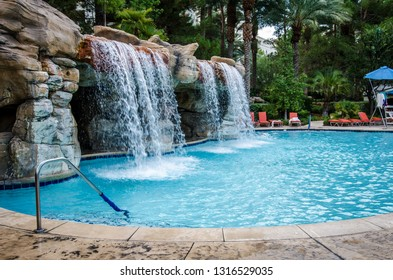 Las Vegas, Nevada - August 4, 2018: Outdoor tropical pool area at the JW Marriott hotel and resort, with a waterfall pool