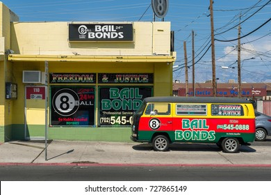 LAS VEGAS, NEVADA - AUGUST 6: Exterior of the colorful 8-Ball Bail Bonds shop on Main Street on August 6, 2017 in Las Vegas, Nevada
