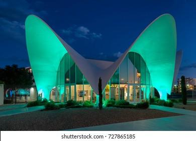 LAS VEGAS, NEVADA - AUGUST 6: Exterior of the Neon Museum on August 6, 2017 in Las Vegas, Nevada