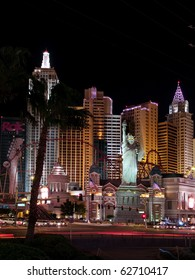 LAS VEGAS, NEVADA - AUGUST 8: The statue of Liberty and other faux New York landmarks entertain tourists on a warm desert night, on August 8, 2009 in Las Vegas, Nevada.