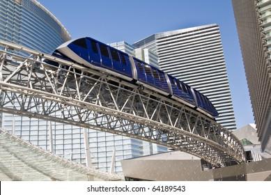 LAS VEGAS, NEVADA- CIRCA DEC. 2009: A monorail tram passes through an ultra modern cityscape at CityCenter in Las Vegas, circa Dec. 2009, America's largest privately-financed complex