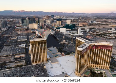 Las Vegas Nevada - December 14 : Aerial view of the famous Las Vegas Strip, view from the south end with Mandalay Bay in the frame, December 14 2014 in Las Vegas, Nevada