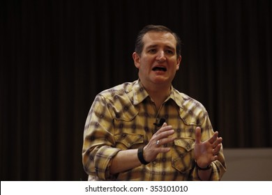 LAS VEGAS, NEVADA, DECEMBER 17, 2015: Republican Presidential candidate Sen. Ted Cruz, R-Texas, speaks during his rally at Siena Community Ballroom, Las Vegas, NV