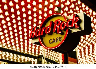 Las Vegas Nevada - December 18 : close up of the Hard Rock Cafe sign on the strip, December 18 2014 in Las Vegas, Nevada