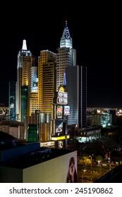 Las Vegas Nevada - December 18 : New York New York hotel and casino at night, December 18 2014 in Las Vegas, Nevada