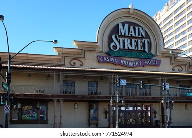 LAS VEGAS, NEVADA - DECEMBER 7, 2017: Main Street Station Hotel and Casino and Brewery. Located in the Downtown Vegas area.