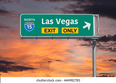 Las Vegas Nevada exit only highway sign with sunrise sky.