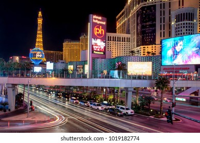 """LAS VEGAS, NEVADA - FEB 1: Night scene at the strip in Las Vegas, Nevada on February 1, 2018. The city is famous for its many indulgences and vices, thus the nickname """"Sin City."""""""