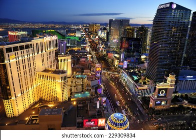LAS VEGAS, NEVADA, - Feb. 25. 2011: Aerial view of Strip at Las Vegas Boulevard, the main street of the town and home of the largest hotels and casinos, Las Vegas, Nevada, USA