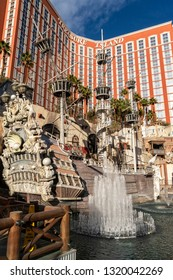 LAS VEGAS, NEVADA - FEBRUARY 4, 2019: Hotels and casinos attract tourists with the world's landmarks