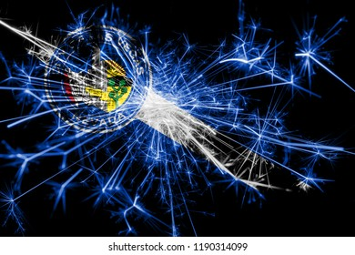 Las Vegas, Nevada fireworks sparkling flag. New Year 2019 and Christmas party concept