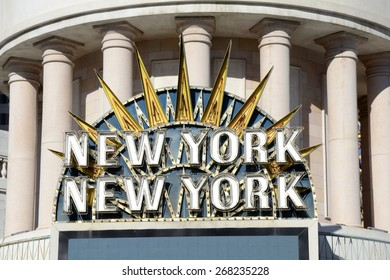 LAS VEGAS, NEVADA - JANUARY 1, 2015: Entrance at the New York-New York Hotel and Casino from the strip on January 1, 2015.