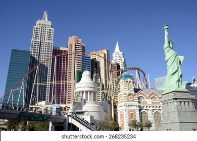 LAS VEGAS, NEVADA - JANUARY 1, 2015: The New York-New York Hotel and Casino from the strip on January 1, 2015. Completed at a cost of $460 million, New York-New York opened on January 3, 1997.