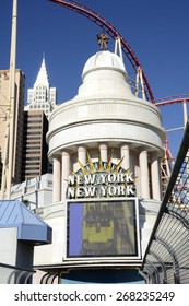LAS VEGAS, NEVADA - JANUARY 1, 2015: Entrance of the New York-New York Hotel and Casino on January 1, 2015. Completed at a cost of $460 million, New York-New York opened on January 3, 1997.