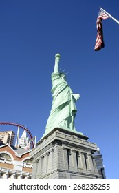 LAS VEGAS, NEVADA - JANUARY 1, 2015: Incredible view of Lady Liberty in the sunshine at the New York-New York Hotel and Casino from the strip on January 1, 2015.