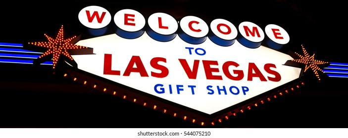 """LAS VEGAS, NEVADA - JANUARY, 2016: """"Welcome to Las Vegas Gift Shop"""" Sign. A shop to buy souvenirs of the great city"""