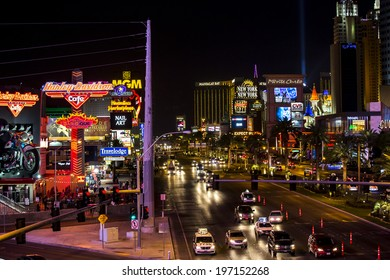 Las Vegas, Nevada - January 6: World famous Vegas Strip in Las Vegas, Nevada as seen at night on January 6, 2014. Stretching 4.2 miles, the Strip is home to the largest hotels and casinos in the world