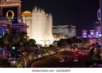 Las Vegas, Nevada - January 6: World famous Vegas Strip in Las Vegas, Nevada as seen at night on January 6, 2014. Stretching 4.2 miles, the Strip is home to the largest casinos in the world.
