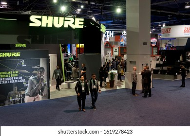 LAS VEGAS, NEVADA - January 8, 2020: View of the  attractive Shure sector with illuminated signs and displays at the annual Consumer Electronics Show