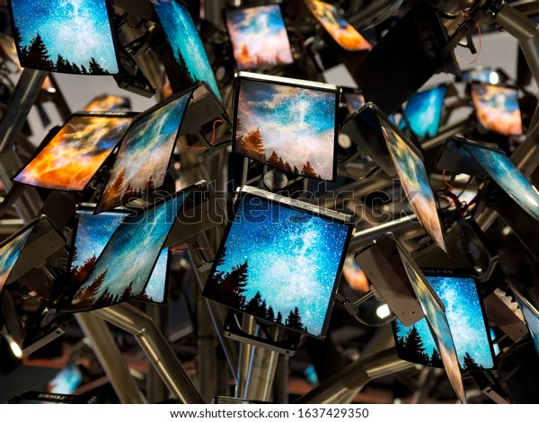 LAS VEGAS, NEVADA - January 8, 2020: Closeup of ultra thin flexible Royole displays at the annual Consumer Electronics Show