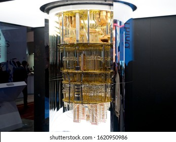 LAS VEGAS, NEVADA - JANUARY 9, 2020: IBM Q System One Quantum Computer at the Consumer Electronic Show CES 2020