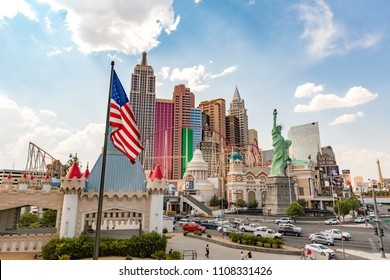 LAS VEGAS, NEVADA - JULY 13, 2017: The New York-New York Hotel and Casino from the strip on July 13, 2017. Completed at a cost of $460 million, New York-New York opened on January 3, 1997.