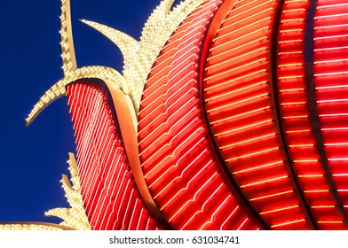 LAS VEGAS, NEVADA - JULY 14, 2011: Close-up night exposure of the neon lights located at the main entrance to the landmark Flamingo Hotel and Casino on the Las Vegas Strip.