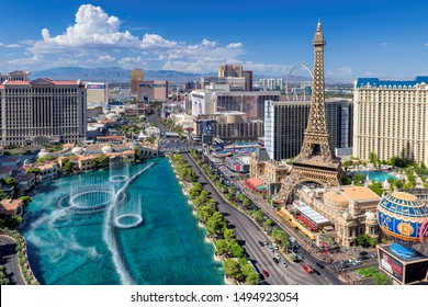LAS VEGAS, NEVADA - JULY 2, 2019: Las Vegas strip skyline as seen at sunny day on July 2, 2019 in Las Vegas, Nevada. Las Vegas is one of the top tourist destinations in the world.