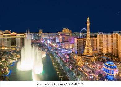LAS VEGAS, NEVADA - JULY 24, 2018: Las Vegas strip skyline at night on July 24, 2018 in Las Vegas, Nevada. Las Vegas is one of the top tourist destinations in the world.