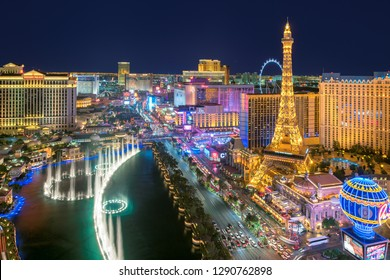 LAS VEGAS, NEVADA - JULY 24, 2018: Las Vegas strip skyline as seen at night on July 24, 2018 in Las Vegas, Nevada. Las Vegas is one of the top tourist destinations in the world.