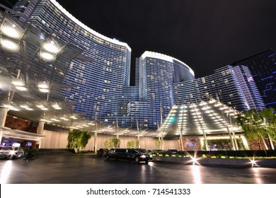 LAS VEGAS, NEVADA - JULY 24, 2017: Night view from Aria Resort and Casino in Las Vegas on July 24, 2017.