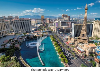 LAS VEGAS, NEVADA - July 24, 2017: Las Vegas strip skyline at sunny day on July 24, 2017 in Las Vegas, Nevada. Caesars Palace, the Flamingo and Paris Hotel and casino are in the background.