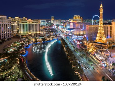 LAS VEGAS, NEVADA - July 25, 2017: Aerial view of Las Vegas strip in Nevada as seen at night on July 25, 2017 in Las Vegas, Nevada. The Strip is home to the largest hotels and casinos in the world.