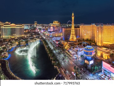 LAS VEGAS, NEVADA - July 25, 2017: Aerial view of Las Vegas strip at night on July 25, 2017 in Las Vegas, Nevada. Caesars Palace, The Flamingo and Paris Hotel and casino are in the background.