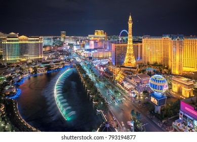 LAS VEGAS, NEVADA - July 25, 2017: Aerial view of Las Vegas strip at night on July 25, 2017 in Las Vegas, Nevada. Las Vegas is one of the top tourist destinations in the world.