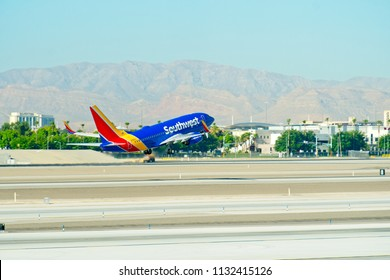 Las Vegas, Nevada - July 5 2015: Southwest Airlines Boeing 737 taking off from the Las Vegas International Airport with landing gear down.