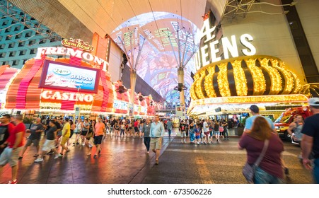 LAS VEGAS, NEVADA - July 5 2017 : View of the Fremont Street Experience in Las Vegas, Bright neon lights and tourist. This Vegas landmark was opened in 1956 : July 5 2107 Las Vegas Nevada USA