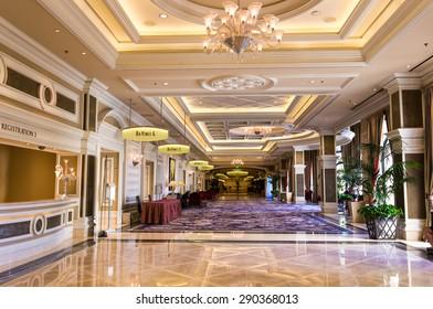 LAS VEGAS, NEVADA -  JUNE 16, 2015. Bellagio hotel registration area