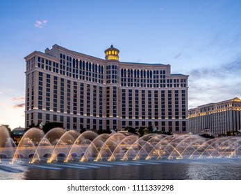 Las Vegas, Nevada - June 5, 2018 : The Fountains of Bellagio Resort and Casino at dusk. The fountains of the Bellagio draw huge crowds during the day and night.
