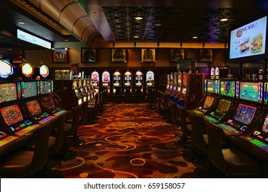 LAS VEGAS, NEVADA - MARCH 10: Casino machines in the entertainment area at night on 10 of March in Las Vegas, 2016.