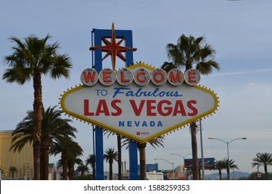 LAS VEGAS, NEVADA - MARCH 31, 2018: Welcome to Las Vegas Sign Near McCarran International Airport
