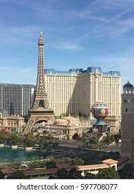 LAS VEGAS, NEVADA - MARCH 8 2017: Aerial view of the Bellagio fountain, and The Eiffel Tower at Paris on the strip