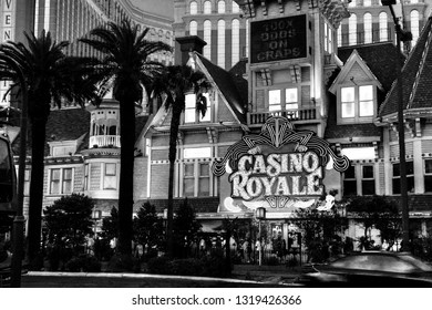 LAS VEGAS, NEVADA - MAY 06, 2009: Entrance to Casino Royale  hotel at central part of Strip in Las Vegas on May 06, 2009.  It is known for its promotional slot play.