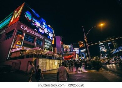 LAS VEGAS, NEVADA - MAY 10: World famous Vegas Strip in Las Vegas, Nevada as seen at night on May 10, 2015. Stretching 4.2 miles, the Strip is home to the largest hotels and casinos in the world.