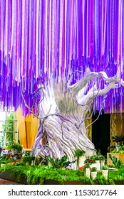 Las Vegas, Nevada; May 11, 2018: The Purple and Pink Ribbon SilverTree in the  Aria Resort and Casino lobby