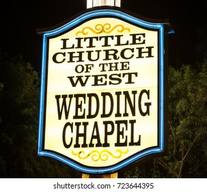 LAS VEGAS, NEVADA - MAY 15, 2012: Night photograph of the main entrance to Little Church of the West Wedding Chapel located on the Las Vegas Strip.