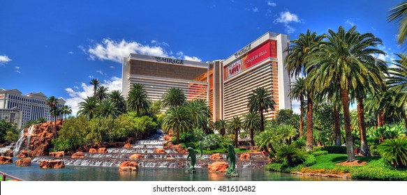 LAS VEGAS, NEVADA - MAY 16 : Colorful HDR image of The Mirage Hotel in Las Vegas on May 16 2016. Was opened in 1989, and has 2.884 rooms and a casino with 100,000 square feet