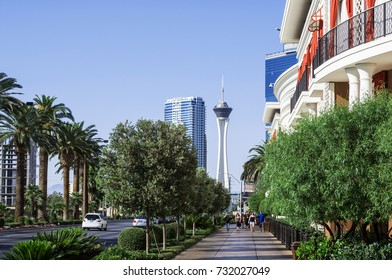 LAS VEGAS, NEVADA - MAY 16, 2012: View of the Las Vegas Strip looking towards the Stratosphere Hotel and Casino.